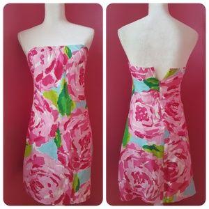 Lilly Pulitzer Strapless Silk & Cotton Dress